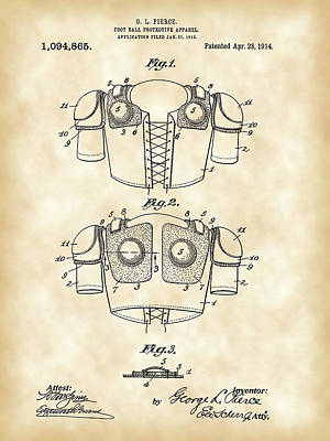 Football Shoulder Pads Patent 1913 - Vintage Poster by Stephen Younts