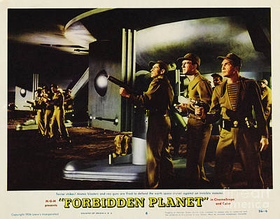 Forbidden Planet In Cinemascope Retro Classic Movie Poster Fighting The Invisible Alien Poster by R Muirhead Art