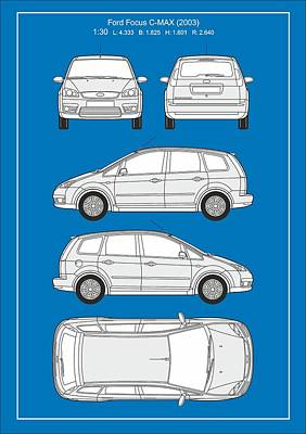 Ford Focus 2003 Poster by Elena Kosvincheva