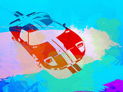 Ford Gt Watercolor  Poster by Naxart Studio