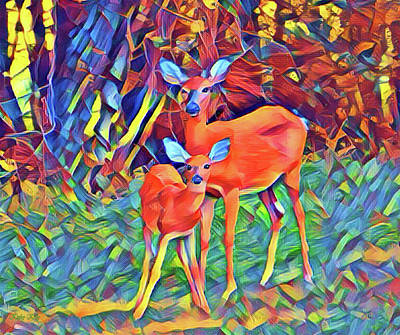 Forest Doe And Fawn Poster by Kathy Kelly
