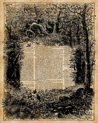 Forest Frame Dictionaryart Trees Ink Artwork  Poster by Jacob Kuch