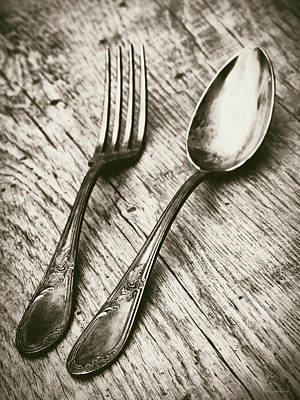 Fork And Spoon Poster by Wim Lanclus