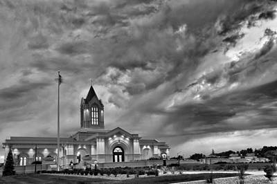 Fort Collins Lds Temple In B And W Poster by David Zinkand