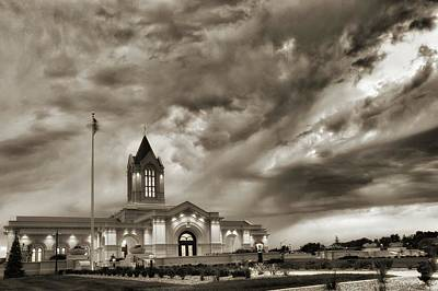 Fort Collins Lds Temple In Sepia Poster by David Zinkand
