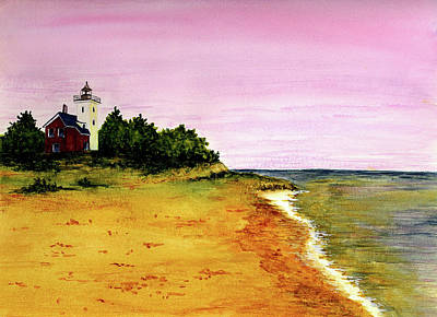 Forty Poster featuring the painting Forty Mile Point Lighthouse by Michael Vigliotti