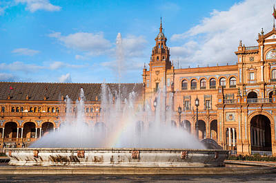 Fountain With Rainbow On Plaza De Espana In Sevillle Poster by Jenny Rainbow