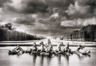 Black And White Paris Poster featuring the photograph Fountain With Sea Gods At The Palace Of Versailles In Paris by Simon Marsden