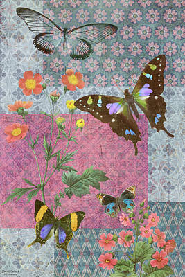 Four Butterfly Patch Blue Poster by JQ Licensing