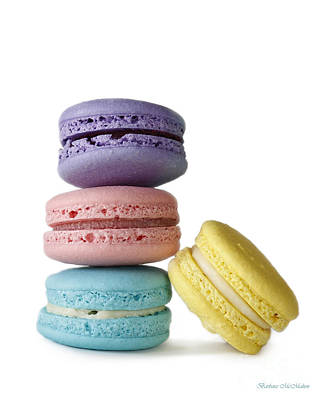Four Delicate Macarons Poster by Barbara McMahon