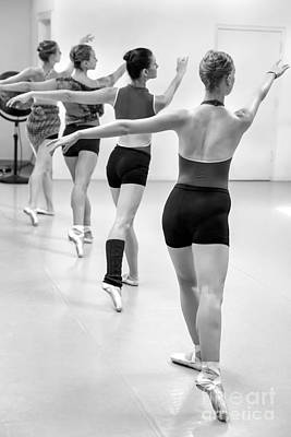 Four Female Dancers During A Ballet Rehearsal Poster by Julia Hiebaum