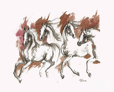 Four Grey Arabian Horses Ink Painting Poster by Angel Tarantella