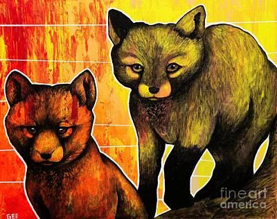Fox Kits Poster by Dan Gee
