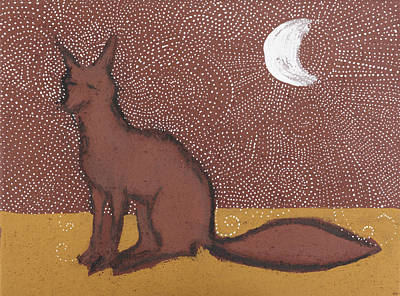 Fox Sitting In The Moonlight Poster by Sophy White