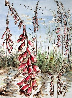 Foxgloves Poster by Richard Jules