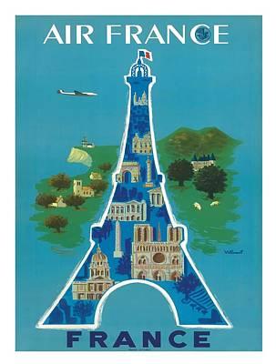 France Eiffel Tower Paris Vintage Travel Poster By Bernard Villemot Poster by Retro Graphics