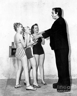 Frankenstein Monster Chatting Up The Girls Poster by R Muirhead Art
