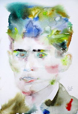 Franz Kafka - Watercolor Portrait.5 Poster by Fabrizio Cassetta