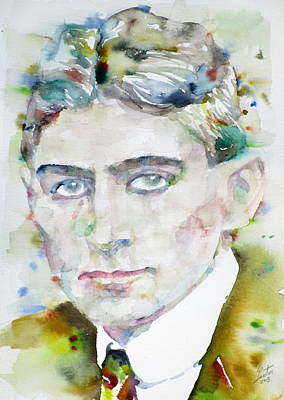 Franz Kafka - Watercolor Portrait.6 Poster by Fabrizio Cassetta
