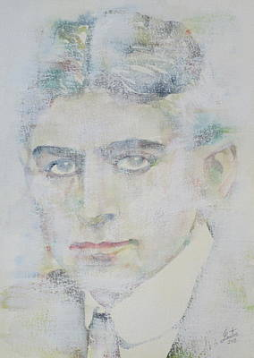 Franz Kafka - Watercolor Portrait.7 Poster by Fabrizio Cassetta