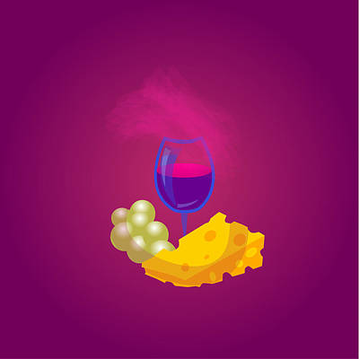 French Cheese And Glass Of Wine Poster by Dragana  Gajic