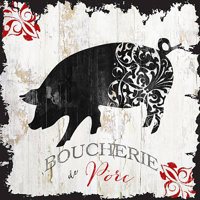 French Farm Sign Piglet Poster by Mindy Sommers