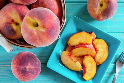 Fresh Organic Yellow Peaches And Peach Salsa Poster by Teri Virbickis