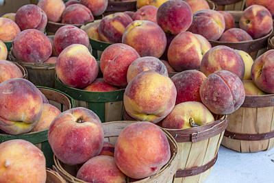 Fresh Peaches At The Market Poster by Teri Virbickis