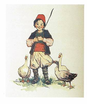 Frolic For Fun Boy And Geese Poster by Reynold Jay