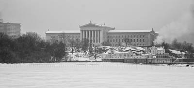 Frozen Schuylkill - Art Museum And Waterworks In Black And White Poster by Bill Cannon