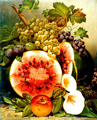 Fruit And Calla Lilies - Vintage Art Painting Poster by Just Eclectic