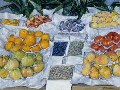 Fruit Displayed On A Stand Poster by Gustave Caillebotte