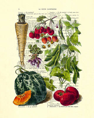 Fruits And Vegetables Kitchen Decoration Poster by Madame Memento