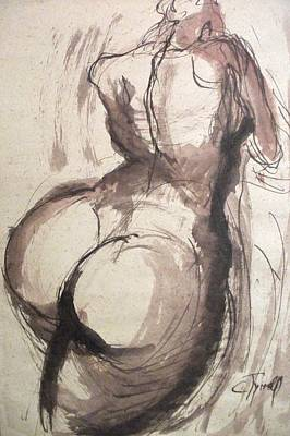 Full Figure - Sketch Of A Female Nude Poster by Carmen Tyrrell