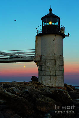 Full Moon At Marshall Point Lighthouse Poster by Diane Diederich