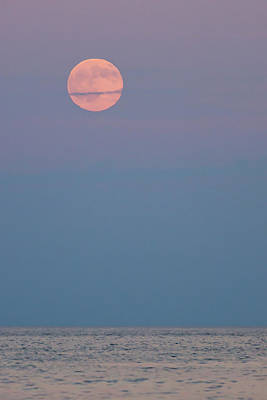 Full Moon Over Calm Sea Lavallette Nj Poster by Terry DeLuco