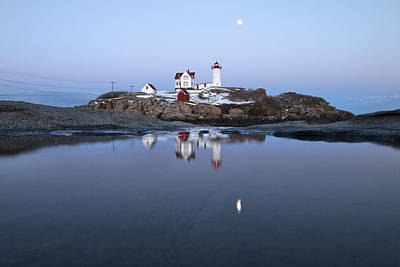 Full Moon Over Nubble Lighthouse Poster by Eric Gendron
