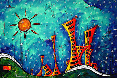 Funky Town Original Madart Painting Poster by Megan Duncanson