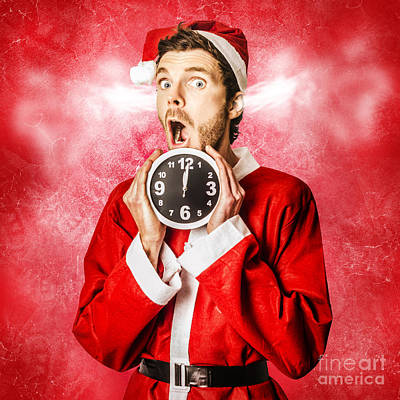 Funny Santa In A Crazy Mad Christmas Rush Poster by Jorgo Photography - Wall Art Gallery