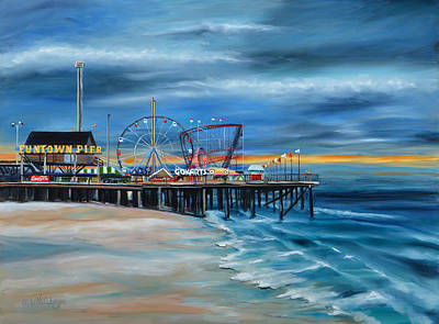 Funtown Pier...before Poster by Diane Hutchinson