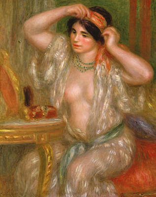 Gabrielle At The Mirror Poster by Pierre Auguste Renoir