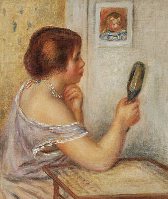 Gabrielle Holding A Mirror Or Marie Dupuis Holding A Mirror With A Portrait Of Coco Poster by Pierre Auguste Renoir