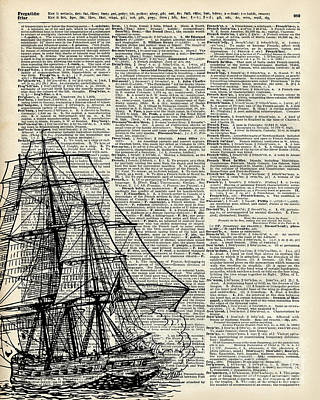 Galleon Ship Over Dictionary Page Poster by Jacob Kuch