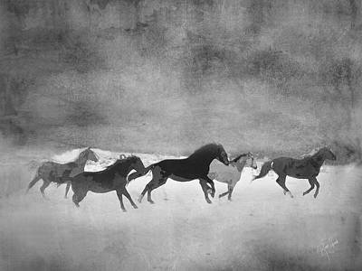Galloping Herd Black And White Poster by Renee Forth-Fukumoto