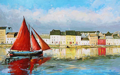 Galway Hooker Leaving Port Poster by Conor McGuire