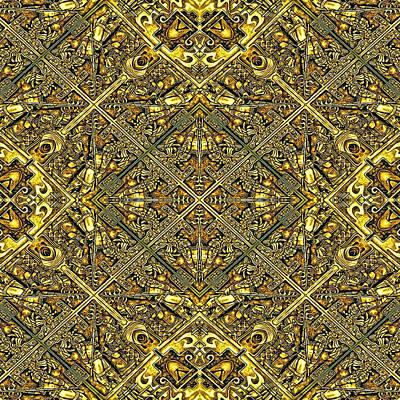 Ganw - Golden Aztec Navajo Wall Poster by Nenad Cerovic