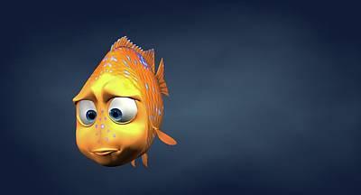 Garibaldi Fish In 3d Cartoon Poster by BaloOm Studios