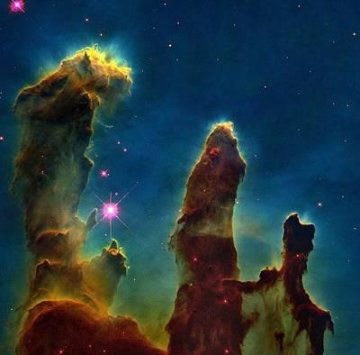 Gas Pillars In The Eagle Nebula Poster by Nasaesastscij.hester & P.scowen, Asu