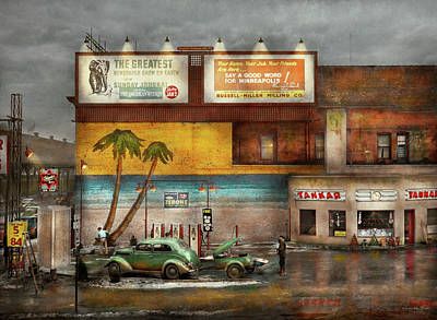 Gas Station - Dreaming Of Summer 1937 Poster by Mike Savad