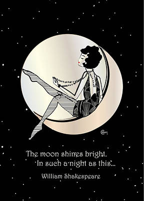 Gatsby Girl Swinging On The Moon With Shakespeare Quote Poster by Cecely Bloom